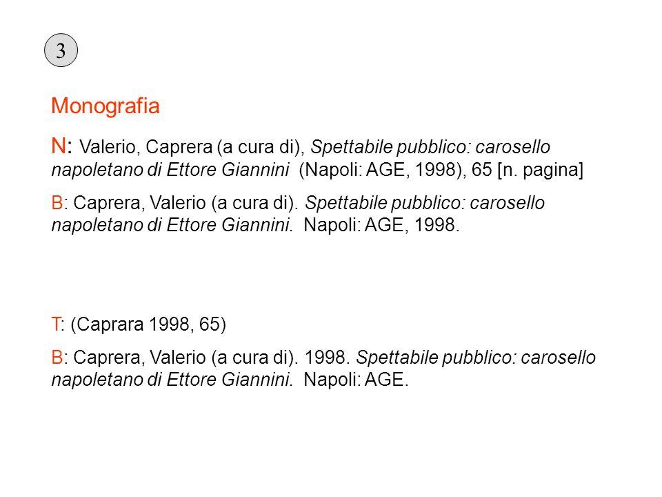 3 Monografia. N: Valerio, Caprera (a cura di), Spettabile pubblico: carosello napoletano di Ettore Giannini (Napoli: AGE, 1998), 65 [n. pagina]